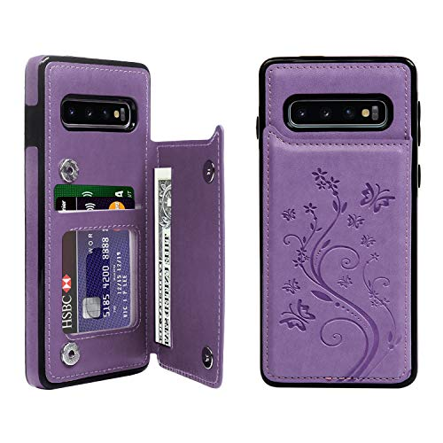 Card Butterfly Credit - Galaxy S10 Wallet Case, Case with Card Holder Embossed Butterfly Slim Folio Leather Cover Shockproof Kickstand with Credit Card Slot Protective Skin for Galaxy S10, Purple
