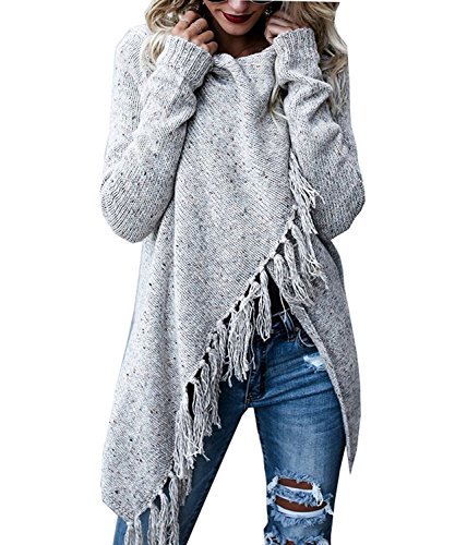 (Fantastic Zone Womens Long Sleeve Speckled Fringe Open Front Cardigan Sweaters for Women, Large, Grey )