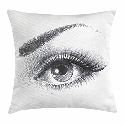 Ambesonne Eye Throw Pillow Cushion Cover, Pencil Drawing Art