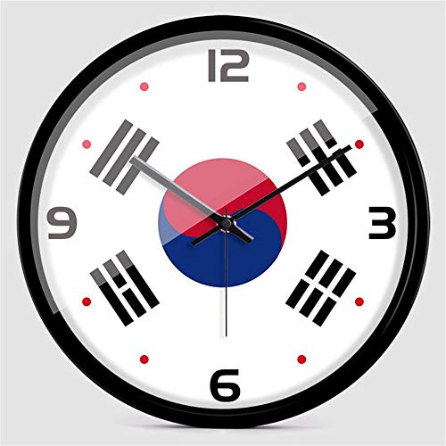 Stylish Silent Wall Clock Home Kitchen Office Living Room School Clock Creative Personality World Cup US-South Korea Germany and France Flag Fashion Mute Wall Clock Quartz Clock - 14 inches