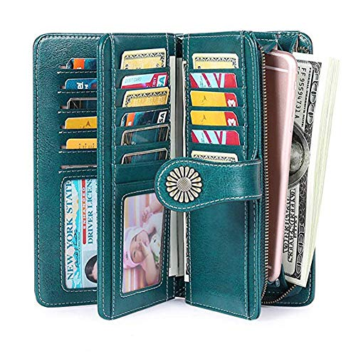 Women RFID Blocking Wallet, Large Capacity Leather Card Wallet with Removable Wristlet Strap