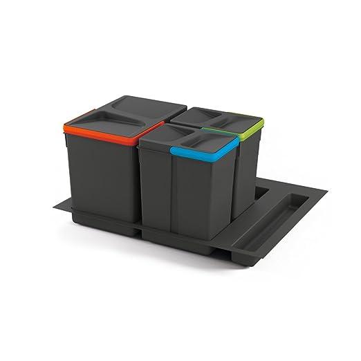 Emuca - Cubos de basura para cajón, cubos de reciclaje con base recortable, juego de contenedores alto 266mm con base 60cm