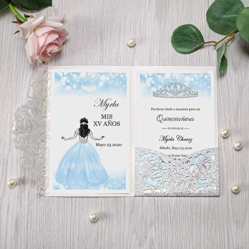 DORISHOME 4.7×7 Inch 50PCS Blank Silver Glitter Wedding/Quinceanera Invitations Kit Laser Cut Hollow Rose Pocket Quinceanera Invitation Cards with Envelopes for Quincenera Birthday Wedding Invite