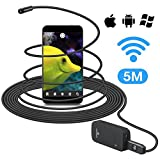 Wireless Endoscope Camera 16.4ft, VIXTECH Wi-Fi Waterproof Inspection Camera , 2.0 Megapixels HD Snake Camera with 6 Adjustable Led Lights, Up to 1.5 Hours Working Time, Borescope for iOS & Android