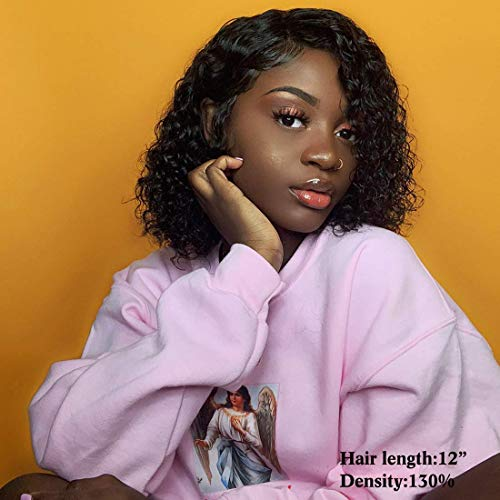VSHOW Hair Lace Front Wigs Human Hair Brazilian Bob Water Wave Wet and Wavy Virgin Hair Lace Wigs Pre Plucked Natural Hairline with Baby Hair 8 Inches for Black Women (Wet And Wavy Human Hair 8in)