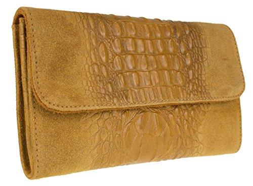 Croc Clutch HandBags Girly Suede Tan Bag Leather Italian q5UPPS