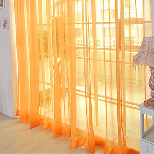 Solid Color Tulle Door Window Curtain Drape Panel Sheer Scarf Valance Orange - 6