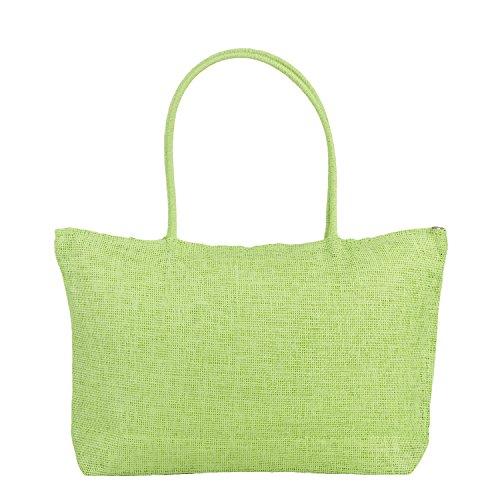 tissé en tout unie de femme Vert couleur pour plage Sac paille Sac fourre 4wPxgaqfx
