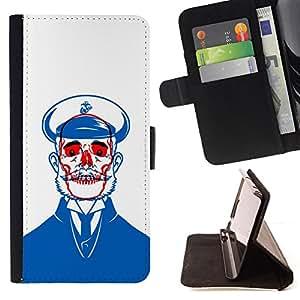 BullDog Case - FOR/Apple Iphone 6 / - / SAILOR BLUE SKULL RED WHITE BEARD /- Monedero de cuero de la PU Llevar cubierta de la caja con el ID Credit Card Slots Flip funda de cuer