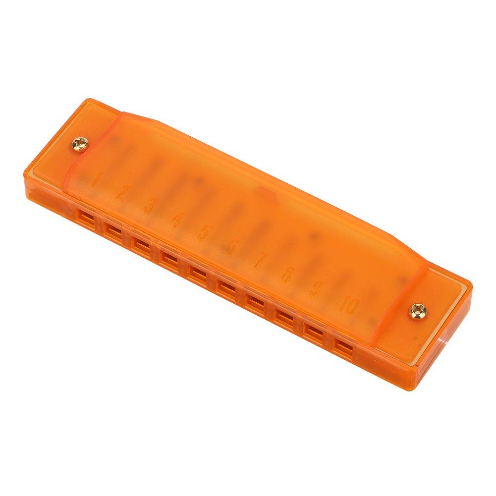 カラフルな半透明、Harmonica 10穴スターター楽器キッズ楽器玩具 B0765X9NQ4  オレンジ