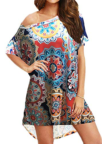 BLUETIME Women's Casual One Shoulder T Shirt Dress Batwing Sleeve High Low Short Mini Dress (L, Floral2) ()