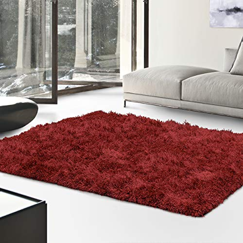 Superior Textured Shag Area Rug, Burgundy, 4' x 6' (Black Texture Rug)
