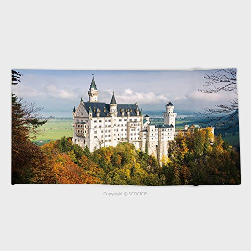 27.5W x 11.8L Inches Custom Cotton Microfiber Ultra Soft Hand Towel The Amazing Wonderful Neuschwanstein Castle In The Bavaria Region In Germany 330173957