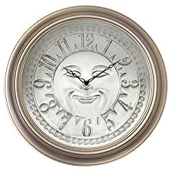 Westclox 33083IN Sun Smiley Face White 18 Wall Clock Smiley Face Sun Dial Wall Clock,Gold,Large