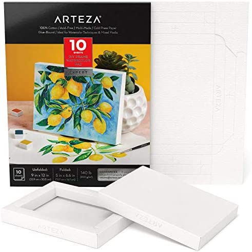 20 Sheets DIY Frame Acid-Free Arteza Watercolor Art Paper Foldable Canvas Pad 140 lb Wood Pulp Canvas Pad for Painting /& Mixed Media Art Heavyweight Canvas Paper 300 GSM 9x12 Inches