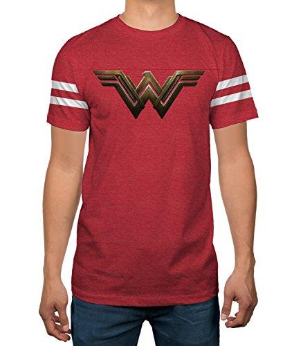 DC Comics Wonder Woman Striped Sleeve Mens Varsity T-Shirt -