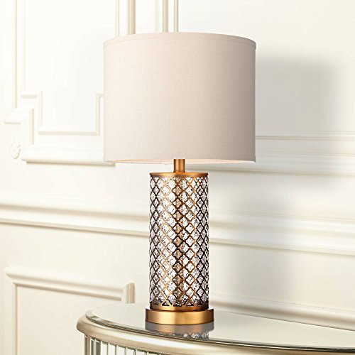 Alcazar Modern Table Lamp Brass and Clear Mercury Glass Off White Drum Shade for Living Room Family Bedroom Nightstand Office - 360 Lighting