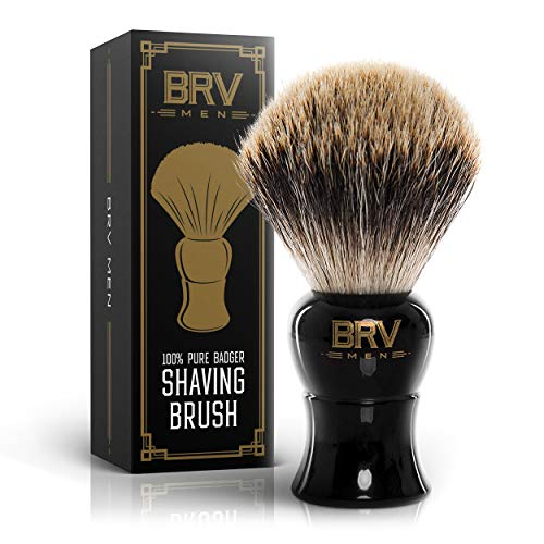 Shaving Brush | 100% Pure Badger Hair | Badger Brush | Rich Lather | Shave Brush | Use with Double-Edge Safety or Straight Razor | Genuine Badger Bristles | Black (Large, Black)