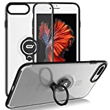iPhone 8 Plus Case, iPhone 7 Plus Semi-Transparent Clear Case with Ring Holder Kickstand Built-in Metal Sheet Work with Magnetic Car Mount Ultra-Slim Cover Case for iPhone 8 Plus 5.5 inch - Clear