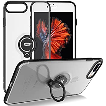 20d4a6706 iPhone 8 Plus Case, iPhone 7 Plus Semi-Transparent Clear Case with Ring  Holder Kickstand Built-in Metal Sheet Work with Magnetic Car Mount  Ultra-Slim Cover ...