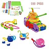 Jujuism Soft DIY Stem Toy Set Flexible Twistable Bending Building Sticks Toys Colorful Interlocking 100 Pcs Birthday Gift