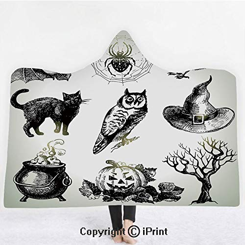 "Vintage Halloween 3D Print Soft Hooded Blanket Boys Girls Premium Throw Blanket,Halloween Related Pictures Drawn by Hand Raven Owl Spider Black Cat Decorative,Lightweight Microfiber(Kids 50""x60"")Black -"