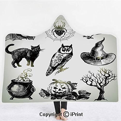 Vintage Halloween 3D Print Soft Hooded Blanket Boys Girls Premium Throw Blanket,Halloween Related Pictures Drawn by Hand Raven Owl Spider Black Cat Decorative,Lightweight Microfiber(Kids -
