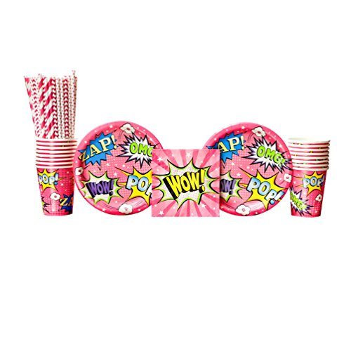 Superhero Girl Birthday Party Supplies Pack for 16 Guests: Straws, Dessert Plates, Beverage Napkins, and -