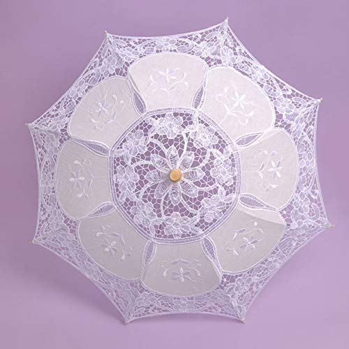 Longay Lace Embroidered Sun Parasol Umbrella Bridal Wedding Dancing Party Photo Show (White) by Longay (Image #3)