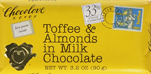 Toffee Almond Milk (Chocolove Milk Chocolate, Toffee/Almond, 3.2 Ounce (Pack of 12))