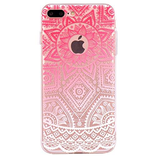 Coque iPhone 7 Plus, JIAXIUFEN Transparent Souple TPU Protecteur Silicone Étui Housse Coque pour iPhone 7 Plus - Pink White Tribal Henna