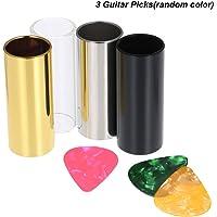 Mainstayae 4pcs 60MM High Stainless Steel/Glass Guitar Slides Bars + 3 Guitar Picks(Random Color) Finger Slides for Guitar Bass Banjo Ukulele String Instrument Accessories