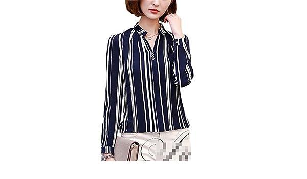 Amazon.com: xiaohuihuihui Long Sleeve Blouse Shirt Women Flower/Striped/Plaid/Arrow Printed Chiffon Tops Female New Autumn Korean Ladies Office Shirts Blue ...