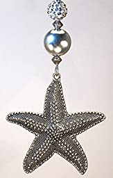 Large Textured Silvery Starfish with Glass and Faux Rhinestone Reflections Ceiling Fan Pull