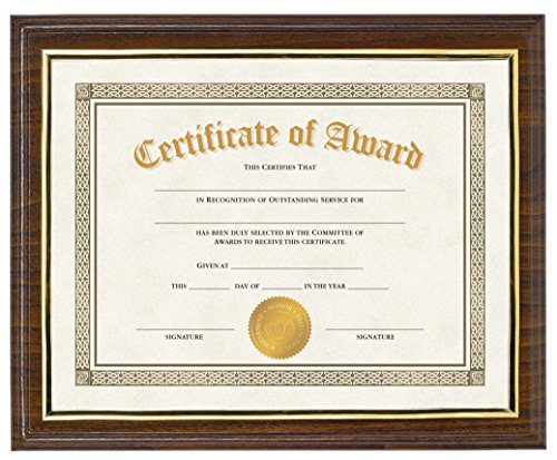 (Victory Light Walnut Finish Award Plaque with Insertable Document Display, 4-Pack)