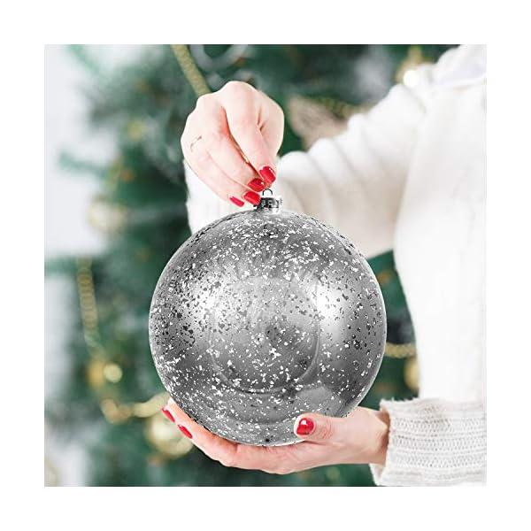Palline di Natale Grandi Argento - Palline di Natale Argento da 19,5cm con Corda - Addobbi Natalizi Palle di Natale Argento - Palline di Natale Grandi in Plastica- Decorazioni Albero di Natale Argento 3 spesavip