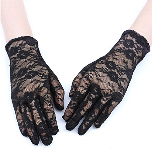 Paciffico Women's Classy Floral Stretching Lace Wedding Gloves UV Protection Fingerless Wrist Short/Elbow Length Long Evening Dress Gloves Floral Golf Gloves