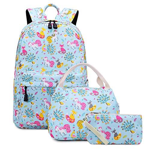 Abshoo Cute Lightweight Kids Unicorn and Fox School Backpacks for Girls Bookbag and Lunch Bag (Set Unicorn and Fox Blue) (Fox Backpack Blue)