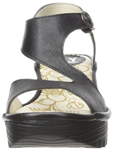 Fly London Yanca Negro Mujeres De Cuña Cuero Sandalias Zapatos