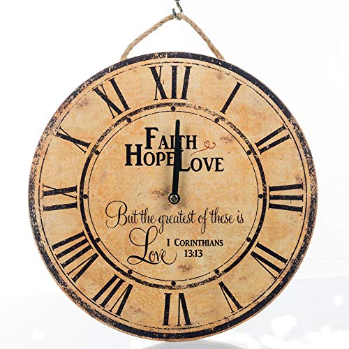 Your Heart's Delight Faith Hope Love Vintage Round 11.5 Inch Wood Wall Hanging Clock Plaque ()