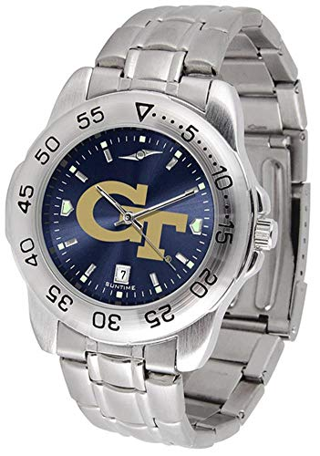 Yellow Jackets Sport Steel Watch - SunTime Georgia Tech Yellow Jackets Sport Steel Band Ano-Chrome Men's Watch