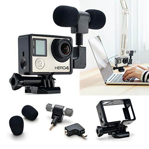 WANGOFUN Mic Kit for GoPro, Microphone Travelling Microphone Interview Microphone w/Stereo Windproof Mic Compatible with GoPro Hero 4/3+ /3