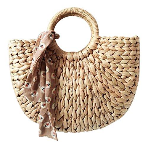 SODIAL Bolso de mujer coreano Extracto de piel de maiz The Semicircle Art Beach Bag Imagenes de viaje Props Straw Bag Moon Bag Nuevo