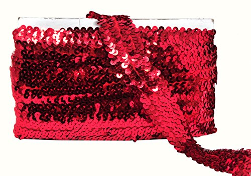 Mandala Crafts Flat Glitter Metallic Bling Elastic Paillette Appliqué Sequin Stretch Trim Lace Ribbon for Fabric Dress Embellish Headbands (1.5 Inches, Red)