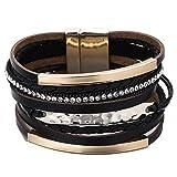 Leather Bracelet for Women Men Vintage Metal Bar Charm Braided...
