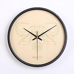 Scandinavian-style line animal wall clocks and creative living room dining room bedroom den wall clock,Bull
