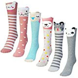 Miayon 6 Pack Cartoon Animal Over Calf Knee High Socks Warm Cotton Socks Cat Bear Fox Socks for Girls
