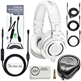 Audio-Technica ATH-M50x Professional Monitor Headphones (White) + Tekline Active Replacement Cable + Headphone Case