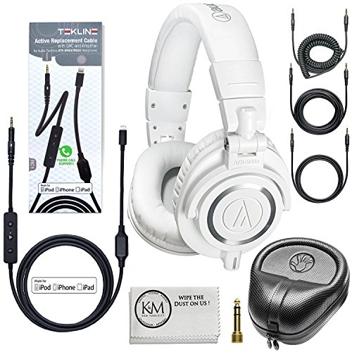 Audio-Technica ATH-M50x Professional Monitor Headphones (White) + Tekline Active Replacement Cable + Headphone Case by K&M