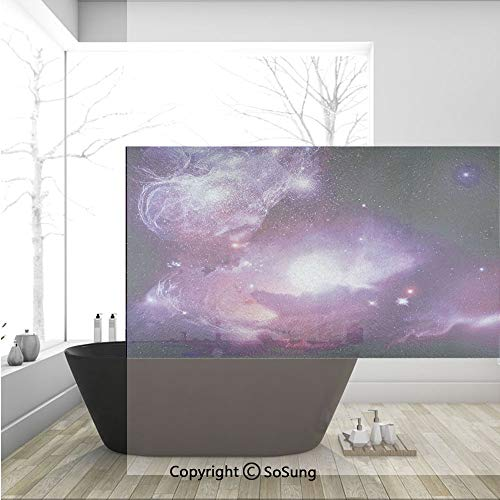 3D Decorative Privacy Window Films,Fantasy Space Nebula with Magical Planet Movement in Star Clusters Galaxy Print,No-Glue Self Static Cling Glass film for Home Bedroom Bathroom Kitchen Office 36x24 I -